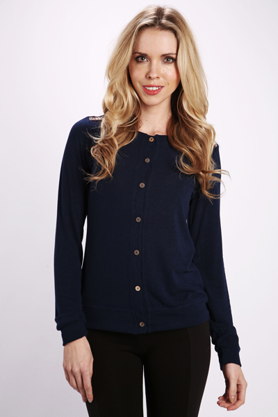 Embroidered Stitch Shoulder Button Front Cardigan