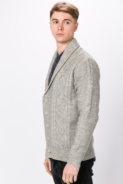 Cable Knit Shawl Collar Cardigan