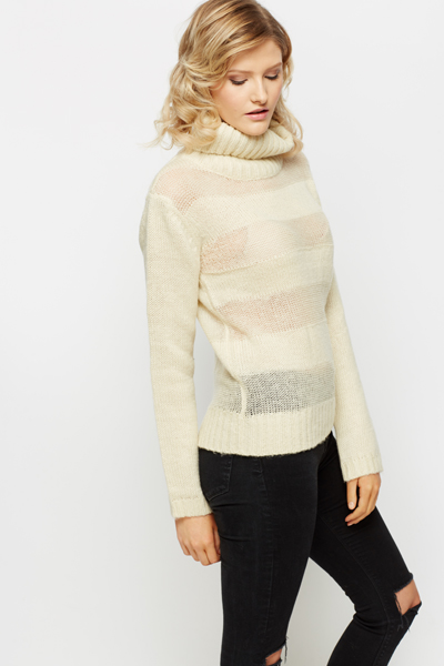 Knitted Stripe Roll Neck Jumper