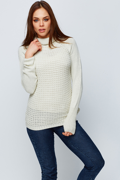 Roll Neck Perforated Jumper