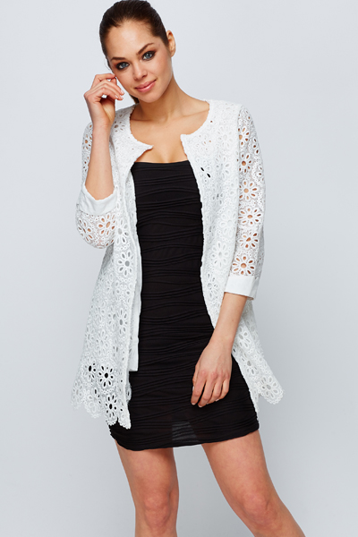 Cuff Trim Crochet Jacket