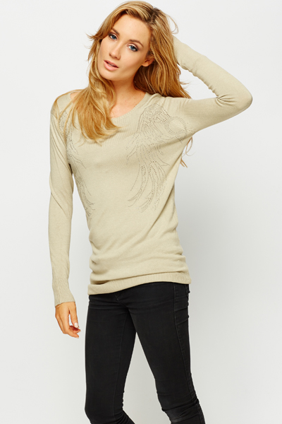 Encrusted Wing Pullover