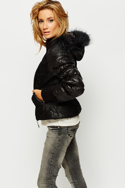 Faux Fur Hooded Lace Overlay Padded Jacket