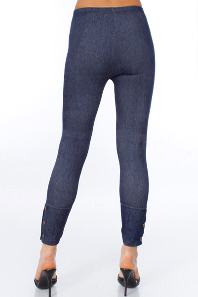 Double Row Buttons Cuff Jeggings