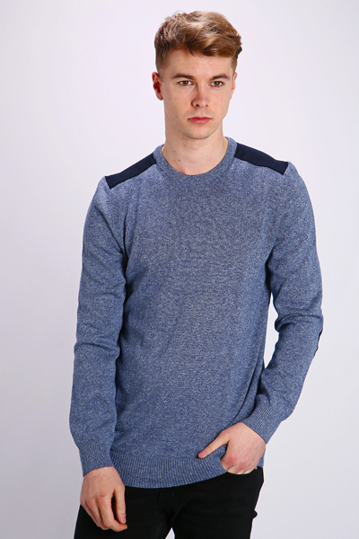Contrast Elbow Patch Sweatshirt