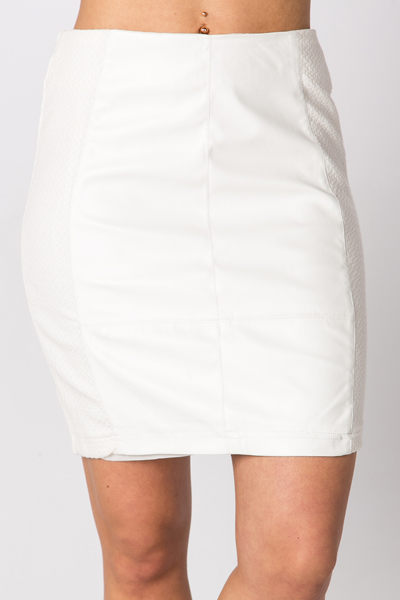 Faux Leather Front Mini Skirt