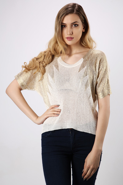Metallic Shoulder Dip Hem Top