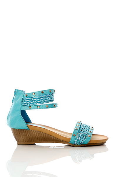 Woven & Studded Straps Wedge Sandals