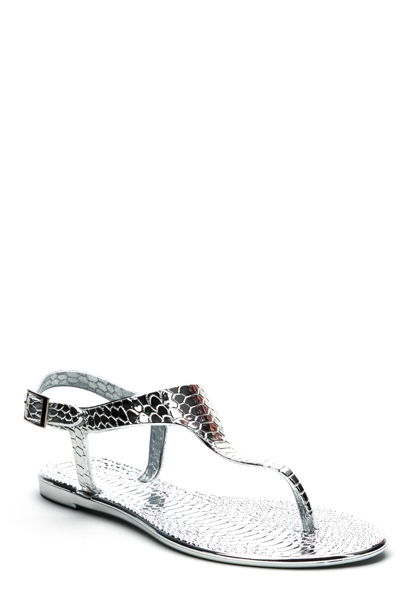 Mock Croc Metallic Flat Sandals