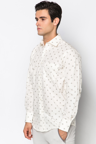 Bird Print Cotton Shirt