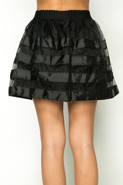 Mesh Stripe Box Pleat Skirt