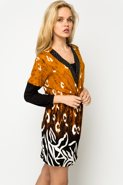 Diamante Trim Fleece Graphic Dress