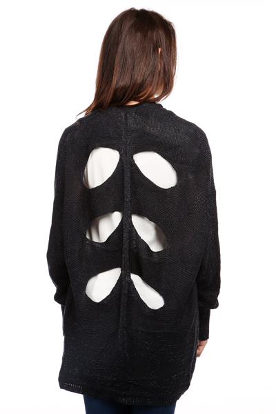 Cut Out Patterned Back Metallic Cardigan