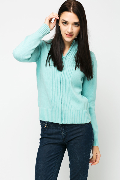High Neck Front Cardigan