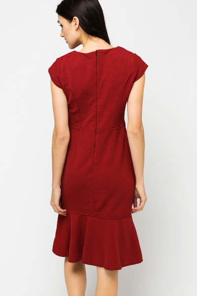 Textured Frilled Hem Smart Dress