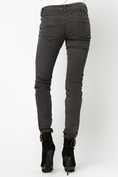 Zip Detail Cord Trousers