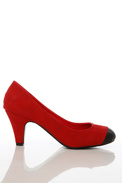 Faux Leather Toe Suedette Pump Shoes