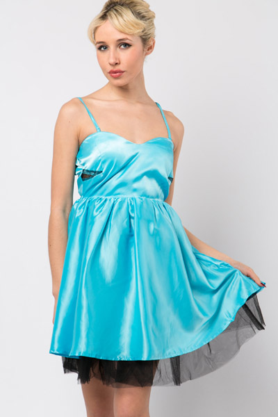 Mesh Insert Babydoll Satin Dress