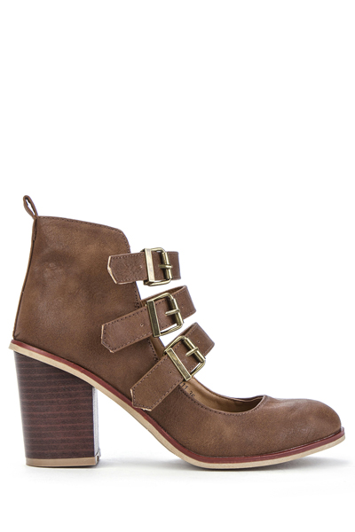 Cut-Out Ankle Buckled Shoes