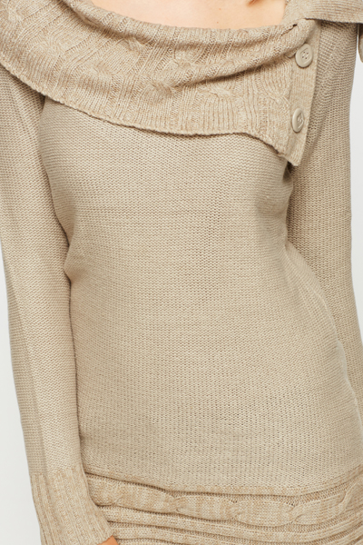 Buttoned Shawl Collar Jumper Dress
