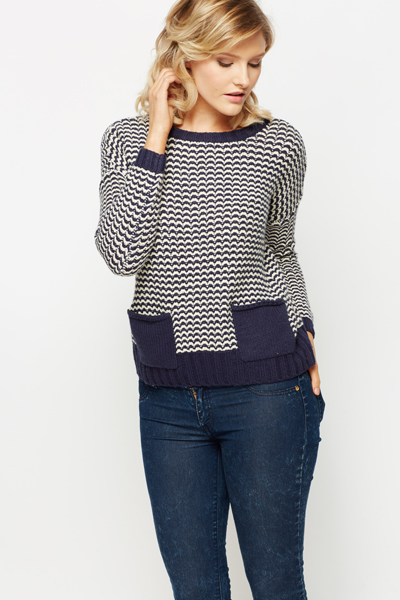 Contrast Wave Knit Jumper