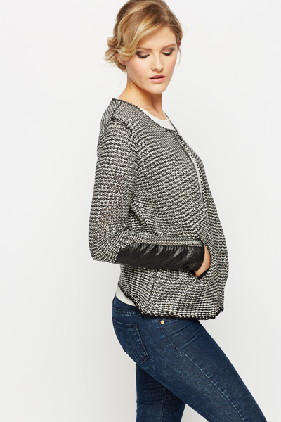 Chain Trim Mono Tweed Jacket