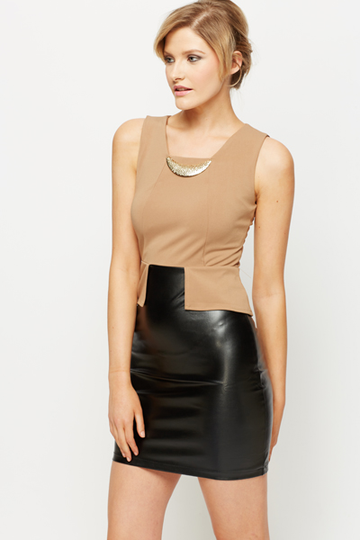 Contrast PU Gold Collar Dress
