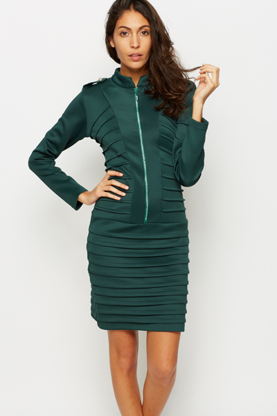 Diamante Trim Ribbed Textured Dress