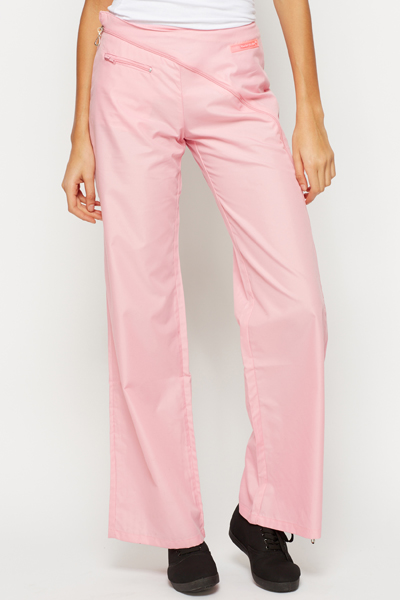 Zipper Wide Leg Trousers