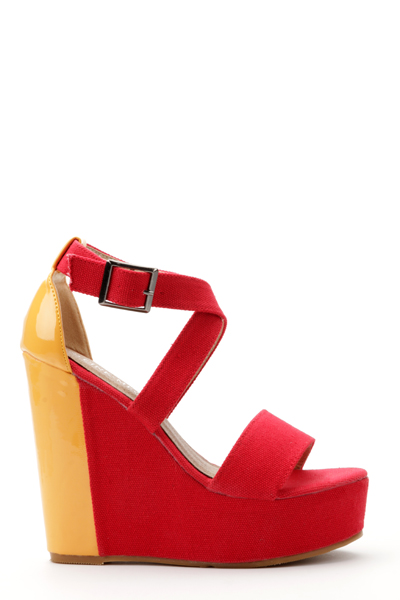 Contrast Colour Wedge Sandal