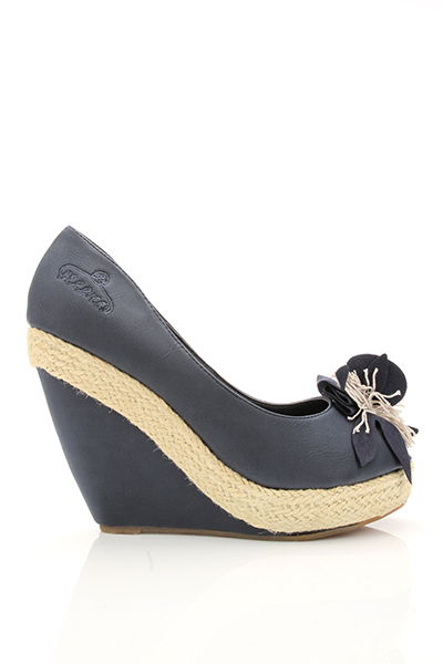 Espadrille & Faux Leather Wedge Shoes