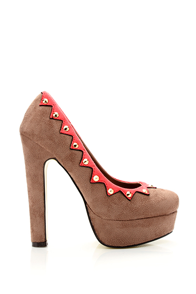 Studded Contrast Trim Suedette Shoes