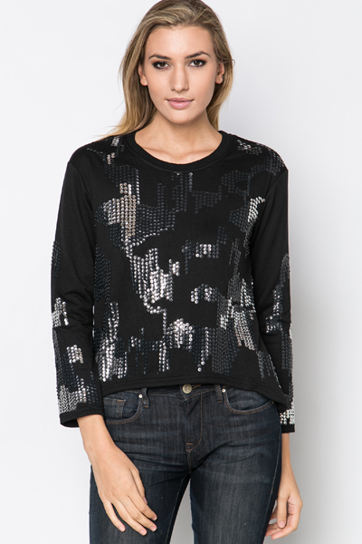 Image of Sequined Dip Hem Pullover