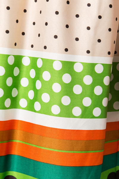 Colourful Waist Band Polka Dot Dress