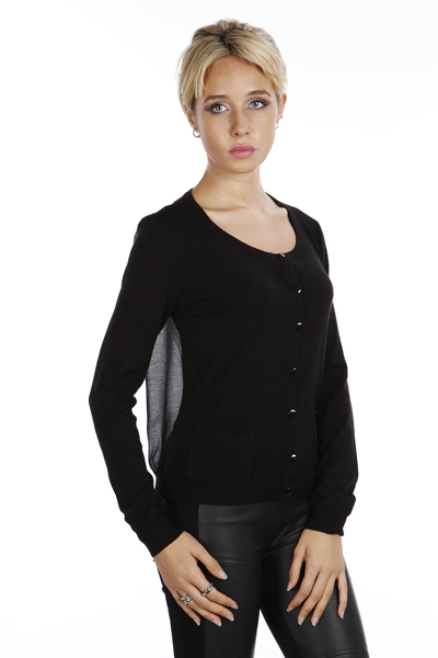 Sheer Back Button Front Cardigan