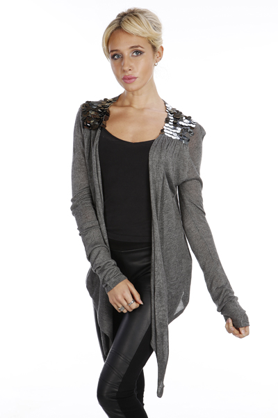 Embellished Paillettes Shoulder Tie Cardigan