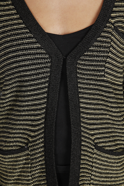 Metallic Fibre Stripe Cardigan