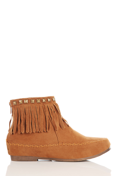 Studs & Tassel Fringed Ankle Boots