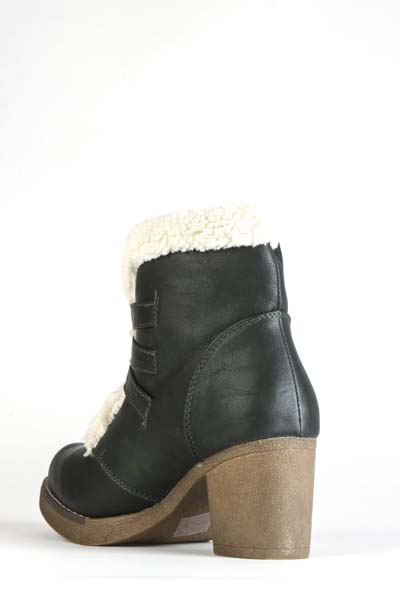 Faux Fur Trim Buckle Block Heel Ankle Boots