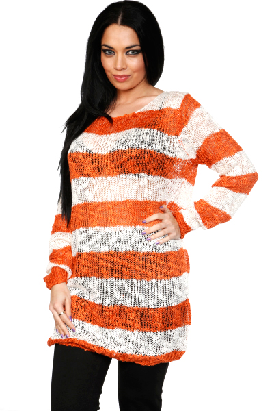 Boucle Knit Sheer Stripes Long Pullover