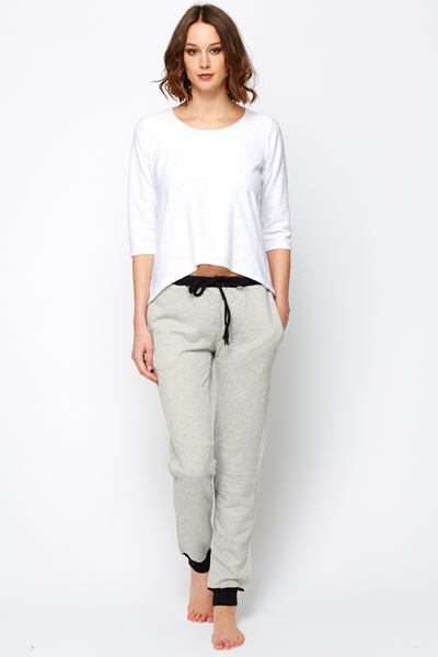 Contrast Trim Casual Trousers