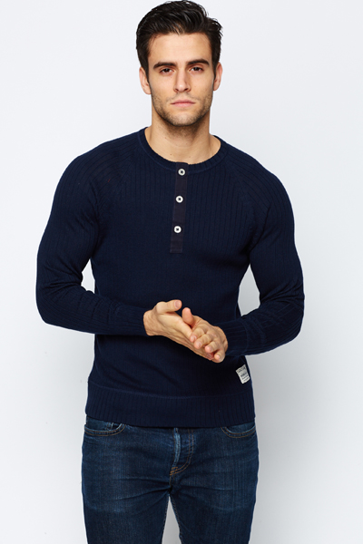 Button Neck Rib Jumper