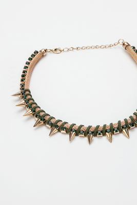 Faux Stone Spike Necklace