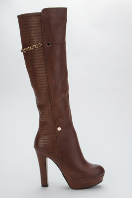 Chain Strap Ribbed Long Boots