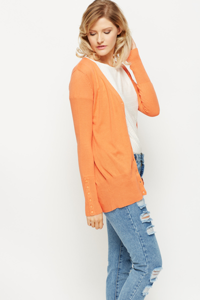 Button Imitation Sleeve Cardigan