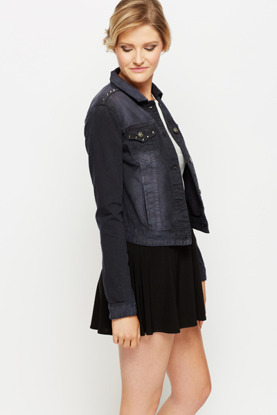 Studded Trim Denim Jacket