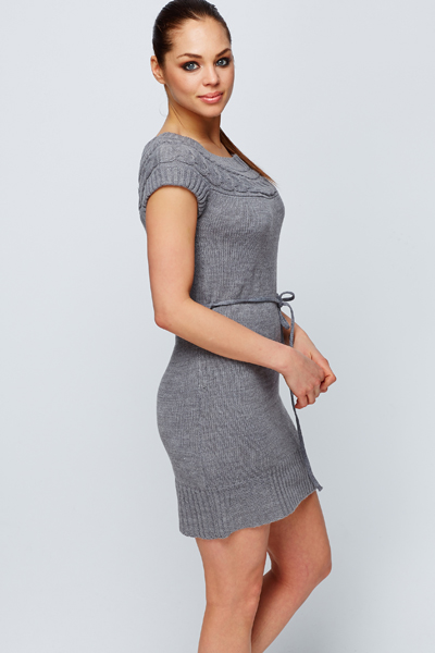 Cable Knit Neckline Jumper Dress