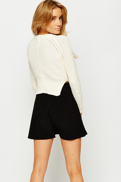 Cropped Rib Knit Jumper