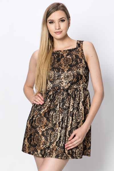 Cut Out Back Lace Skater Dress
