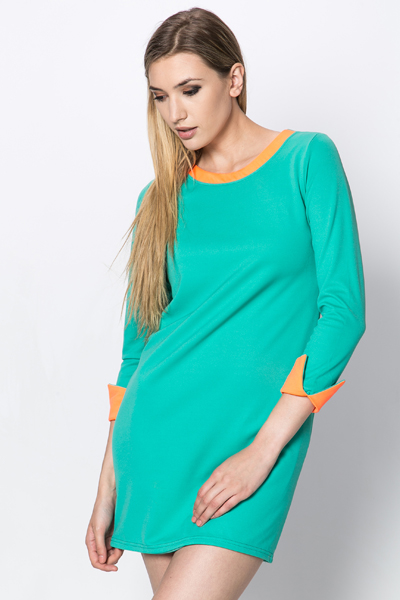 Contrast Trim Tunic Dress